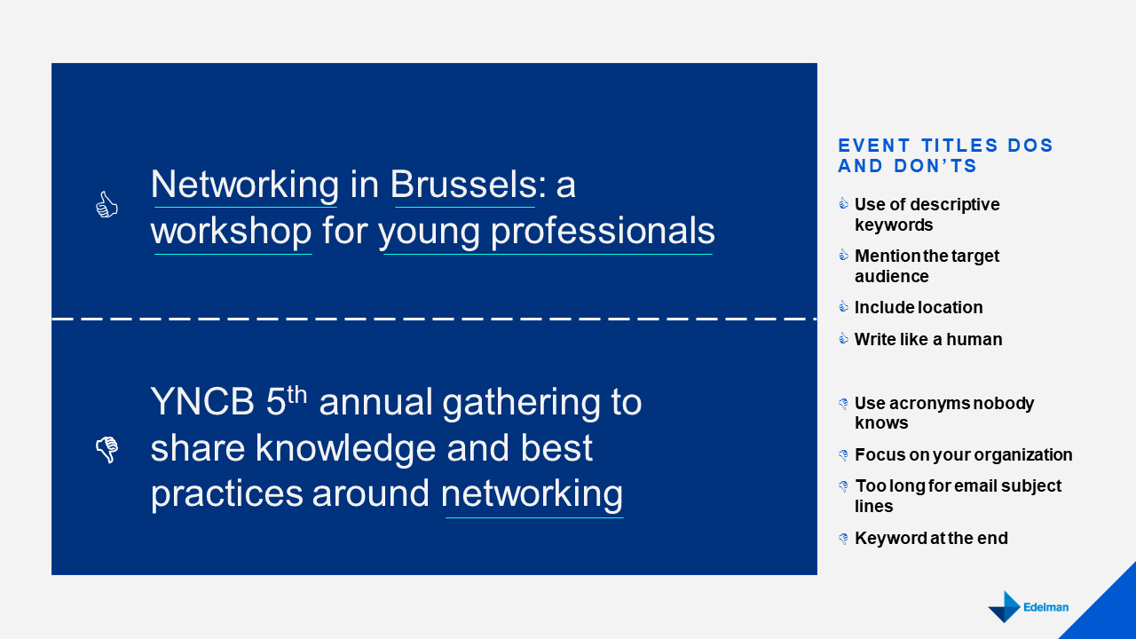 online event promotion in Brussels - titles